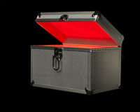 Box with red light in it. A box with red light in it, background black box curious light lock metal mystic red silver surprise toolbox Stock Images