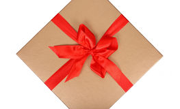 Box with red ribbon Stock Image