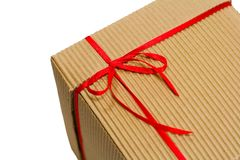 Box with red ribbon Stock Photography