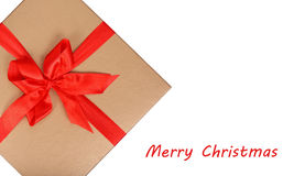 Box with red ribbon with bow Royalty Free Stock Images