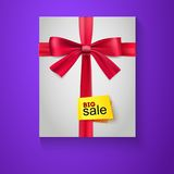 Box, red ribbon, bow and the badge Big Sale Stock Photos