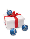 Box with red ribbon, Christmas decorations Stock Images