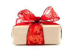 Box with red ribbon Royalty Free Stock Photography