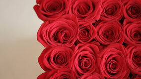 Box of Red Roses with Gift Card. Box of red roses with white love postcard on it, valentine concept stock video