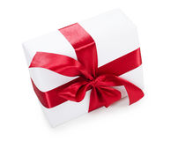 Box with a gift with a red tape Royalty Free Stock Photos