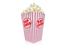 Box of red and white popcorn box royalty free stock photos