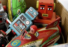 Box of retro toy Stock Images