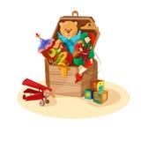 Box with retro toys Stock Photo