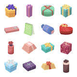 Box, Ribbon, bow and other packing material. Gifts and Certificates set collection icons in cartoon style vector symbol Stock Image