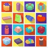 Box, Ribbon, bow and other packing material. Gifts and Certificates set collection icons in flat style vector symbol Royalty Free Stock Photography