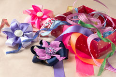 Box with ribbons and bows Stock Image