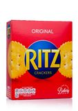 A box Ritz Crackers. Introduced in 1934 by Nabisco, the circular crackers are lightly salted with scalloped edges. Royalty Free Stock Photos