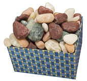 Box of rocks decorative isolated white Royalty Free Stock Photography
