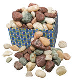Box of rocks loose isolated white Royalty Free Stock Images