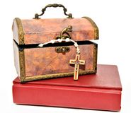 Box with Rosary and Bible Stock Photography