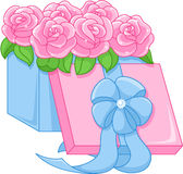 Box with roses Royalty Free Stock Photography