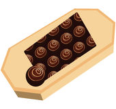 Box with round chocolates Royalty Free Stock Photo