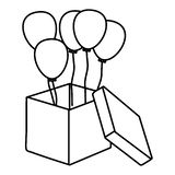 Box with round shaped balloons black and white royalty free illustration