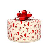 Gift box with a bow. The box is round. 3D illustration vector illustration
