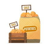A box and a sack of potatoes. Selling vegetables. Street food tr Stock Photos