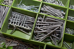Box with screws Royalty Free Stock Images
