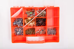 A box for screws on a white background. Isolate Royalty Free Stock Photo