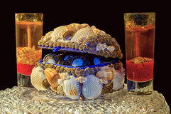 Box of seashells. And candles without fire Royalty Free Stock Images