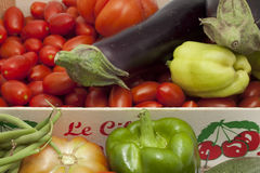 Box of seasonal vegetables mixed Royalty Free Stock Photo