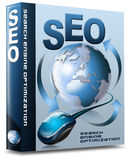 Box SEO - Search Engine Optimization Web. Box with globe, mouse and written SEO Royalty Free Stock Photography