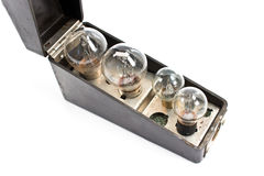 Box with set of old bulbs Royalty Free Stock Image