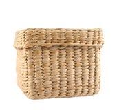 Box shaped wicker basket isolated Stock Photos