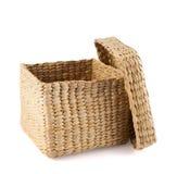Box shaped wicker basket isolated Stock Image