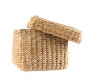 Box shaped wicker basket isolated Stock Photo