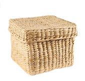Box shaped wicker basket isolated Stock Photography