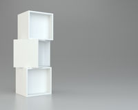 Box shelves white. 3d rendering on background. Box shelves white. 3d rendering on gray background Royalty Free Stock Photos