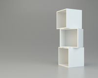 Box shelves white. 3d rendering on background. Box shelves white. 3d rendering on gray background Stock Photos