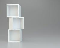 Box shelves white. 3d rendering on background. Box shelves white. 3d rendering on gray background Stock Image