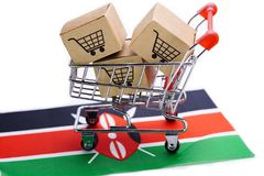 Box with shopping cart logo and Kenya flag : Import Export Shopping online or eCommerce delivery service store product shipping. Trade, supplier concept royalty free stock photos
