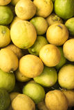 Box of Sicilian green and yellow  lemons Royalty Free Stock Images