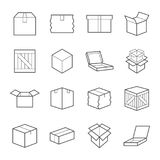 Box signs. Various boxes containers and boxes. line Icon set. Vector illustration. Editable Stroke Stock Photography
