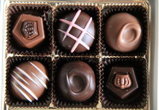 Box of six fancy chocolates Royalty Free Stock Image