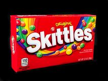Box of Skittles Candy on a black backdrop. A box of Skittles Candy.  Taste the Rainbow Royalty Free Stock Photo