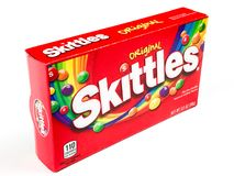 Box of Skittles Candy. A box of Skittles Candy.  Taste the Rainbow Royalty Free Stock Images