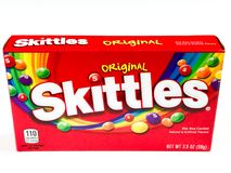 Box of Skittles Candy. A box of Skittles Candy.  Taste the Rainbow Stock Images