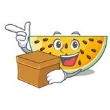 With box sliced yellow watermelon on character cartoon. Vector illustration vector illustration