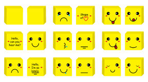 Box smiley set Stock Photos