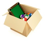 Box with snooker table and balls Stock Images
