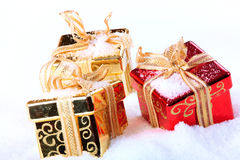 Box in snow. Christmas gift - box in snow Royalty Free Stock Image