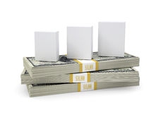 Box with software stand on pack of dollars Stock Images