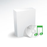 Box and sound cd , dvd. Box and green note , sound cd , dvd Stock Images